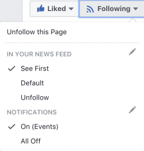 "screenshot of the ""following"" menu on a Facebook page, with option ""see first"" selected"