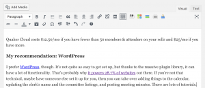 screenshot of WordPress's editor with bold, italic, link, etc buttons