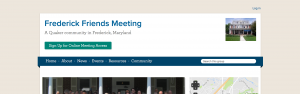 screenshot of Frederick Friends Meeting's website, showing a boxed layout